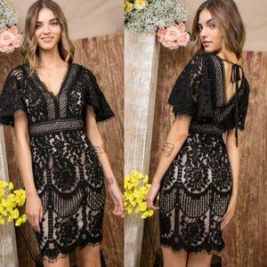 AUBRY V neck Lace Low Back Dress - BLACK